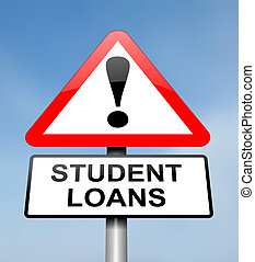 Student loans warning - Illustration depicting a red and...