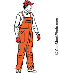 sketch a worker is dressed in orange combination - a sketch...