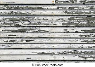 Paint Peeling, retro Beveled Siding - White colored peeling...