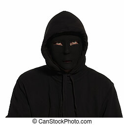 Undercover - A person undercover wearing a black mask and...