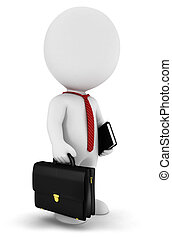 3d white people businessman with a briefcase, a book and...