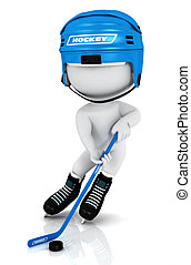 3d white people playing hockey with a blue helmet , a stick...