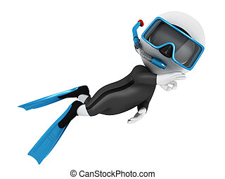 3d white people scuba diver in submarine with blue equipment