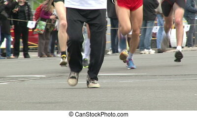 Marathon, legs, young and old