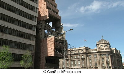 Belgrade, 1999, bombed building - Belgrade, NATO 1999,...