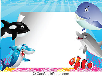 Sea life cartoon with blank sign - Vector Illustration Of...