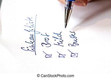 handwritten shopping list in german - handwritten shopping...