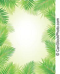 Palm leaf background - Vector Illustration Of Palm leaf...