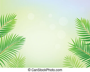 Palm tree frame background - Vector Illustration Of Palm...