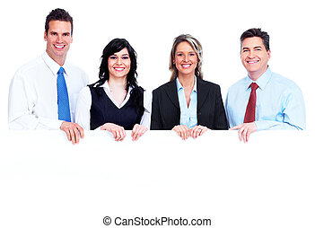 Group of business people with banner.