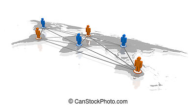 Connected world - Concept of global network with coloured...