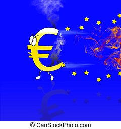 Euro burn - Euro sign burning