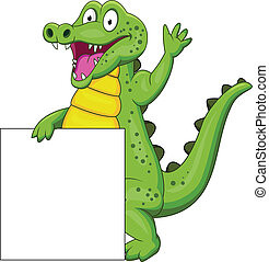 Crocodile cartoon with blank sign - Vector Illustration Of...