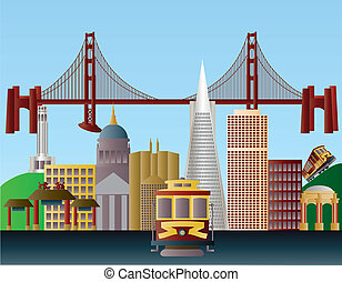San Francisco City Skyline Illustration - San Francisco...