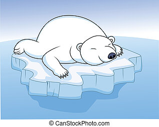 polar bear resting on an ice  - Vector Illustration Of