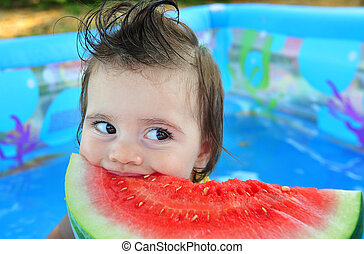 Weather Concept Photo - Heat Wave - A baby girl eats a cold...