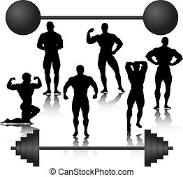 bodybuilder silhouette weights training muscular