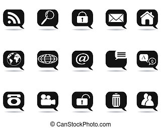 speech bubble with internet icons