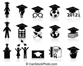black Graduation icons set - isolated black Graduation icons...