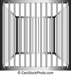 Steel cages with vertical bars. Vector illustration.