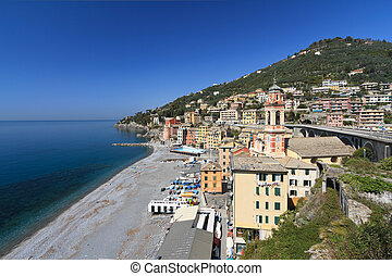Sori, Italy - oveview - overview of Sori, small town in...
