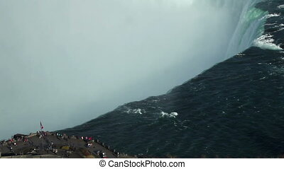 Visitors at Niagara Falls aerial - Canadian horseshoe...