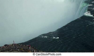 Visitors at Niagara Falls aerial