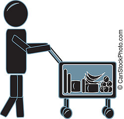 Simple Figure With Shopping Cart
