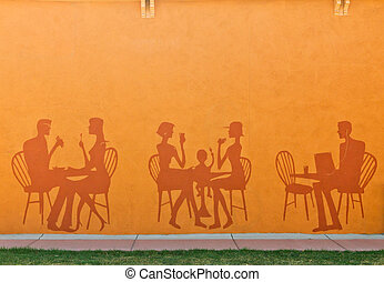 Silhouettes of People in Restaurant - Silhouettes of people...