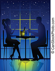 Candle Light Dinner - Illustration of a couple having a...