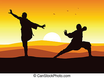 Shaolin Monk - Silhouette illustration of two figures doing...