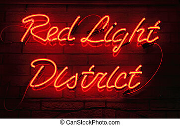 Red Light District neon sign in Amsterdam, Netherlands
