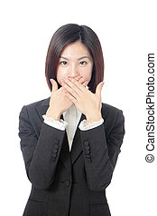 business woman covering with hands her mouth - Portrait of...