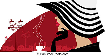 Woman in a big hat at cafe - Vector illustration of an...