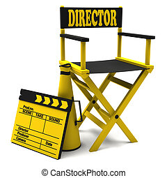 Chair director and movie clapper