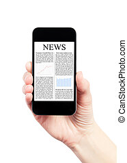 News On Mobile Smartphone - Hand holding mobile smart phone...