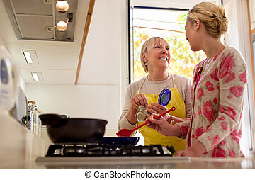 mom and daughter cooking in home kitchen