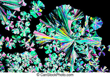Citric acid crystals in polarized light - Colorful apearence...