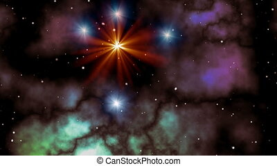 Star flashout in space - Orange and blue stars UFO fly in...