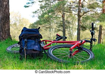 Vélo, sac à dos, mensonge, vert, herbe