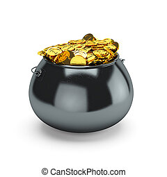 Pot of gold - 3d illustration pot of gold isolated on a...