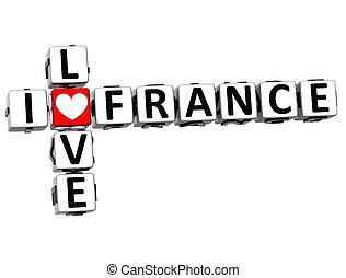 3D I Love France Crossword Block text