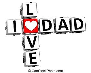 3D I Love Dad Crossword Block text