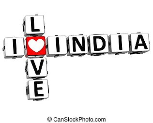 3D I Love India Crossword Block text