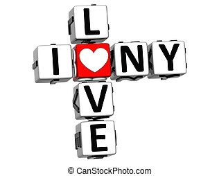 3D I Love NY Crossword Block text on white background