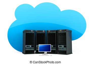 3d Cloud computing concept severs and terminal
