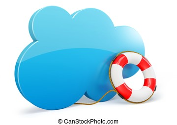 3d cloud computing backup rescue data on white background