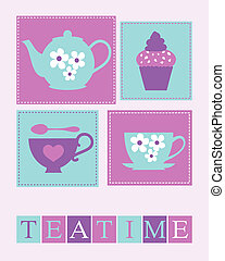 Teatime Poster - Illustration of cute teacups, teapot and a...