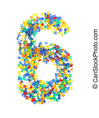 number six from beads on white background