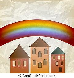 vector 2013 calendar on abstract background with rainbow, crumpl